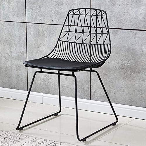 Life HS Creux Wire Chair Style Chair Chaise à dîner, avec Coussin pour Salle à Manger Café Restaurant Simple Design Industriel Chaise Accent Noir