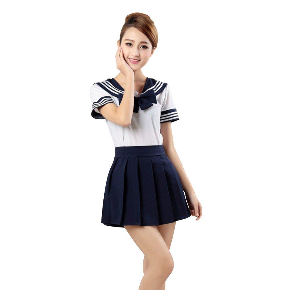 LSERVER Japanese Anime Classice Cute Sailor Suit Short Sleeve Students Uniform Set Costume for Girl Women Dark Blue