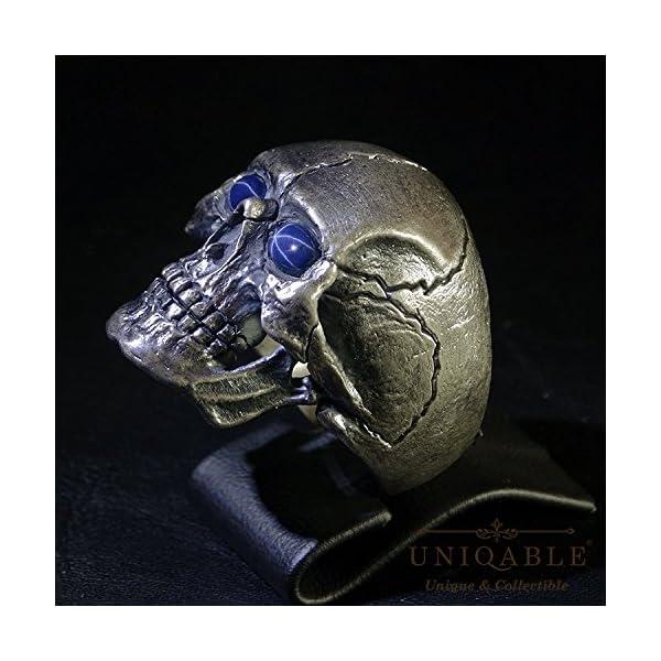 Natural-Blue-Star-Sapphire-Sterling-Silver-925-Biker-Harley-Masonic-Skull-Ring-Full-Jaw-SK03SAP