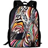 OIlXKV Abstract Colorful Striped Zebra Print Custom Casual School Bag Backpack Multipurpose Travel Daypack For Adult