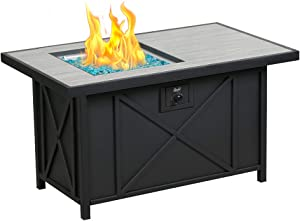BALI OUTDOORS 42 inch 50,000 BTU Rectangular Propane Gas Fire Pit Table with Fire Glass and Table Lid , Fire Pits Outdoor for Garden, Patio, Backyard