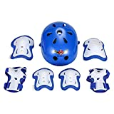 ASIBT Kid's Skateboard Helmet Sets Cycling Roller Skating Helmet Elbow Knee Pads Wrist Sport Safety Protective Guard Gear Set for Children of age 3-8 years old(Blue)