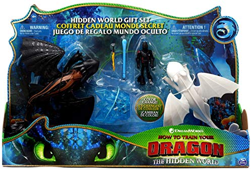How to Train Your Dragon 3: The Hidden World Gift Set Toothless and Lightfury Dragons with Hiccup and Color Change Reveal Crystal