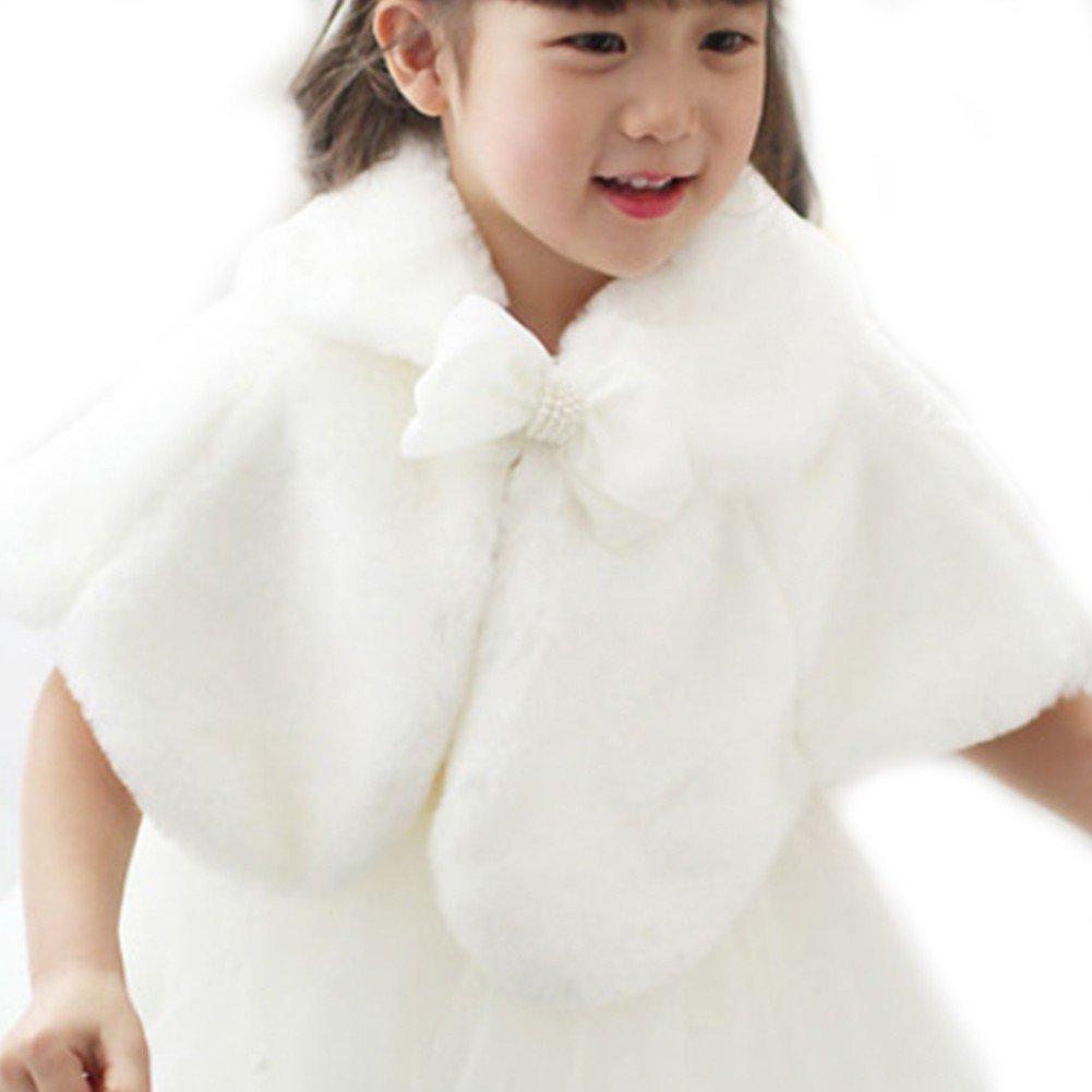 FEESHOW Flower Girls Faux Fur Bolero Shrug Shoulder Cape Wedding Dress Shawl Wrap Stole White 4-5
