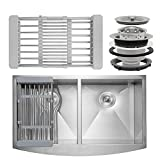 Firebird 33'' x 20'' x 9'' Apron Farmhouse Handmade Stainless Steel Double Bowl 50/50 Kitchen Sink w/ Drain Strainer Kit Adjustable Tray