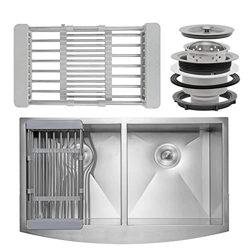 Firebird 33 x 22 x 9 Apron Farmhouse Handmade Stainless Steel Double Bowl 50/50 Kitchen Sink w/ Drain Strainer Kit Adjustable Tray