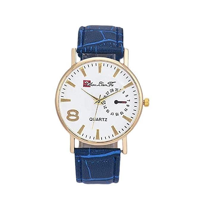 Reloj de Cuarzo para Hombres, Reloj de Cuero Hombres, Hombres, Hombres y Mujeres (Azul): Amazon.es: Relojes