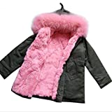 Girls Fur Coat Baby Girls Outerwear Rabbit Fur Kids Coats Baby Gift Kid Christmas Gifts (7-8T, Pink)