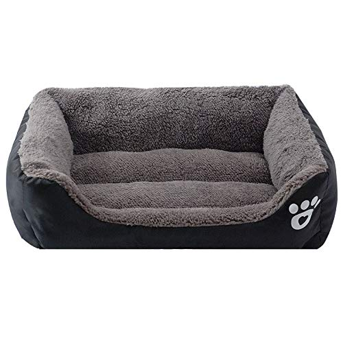 BLACK Xl BLACK Xl MUMUCW Pet Deluxe Soft Washable Dog Pet Warm Basket Bed Cushion with Fleece Lining (color   Black, Size   XL)