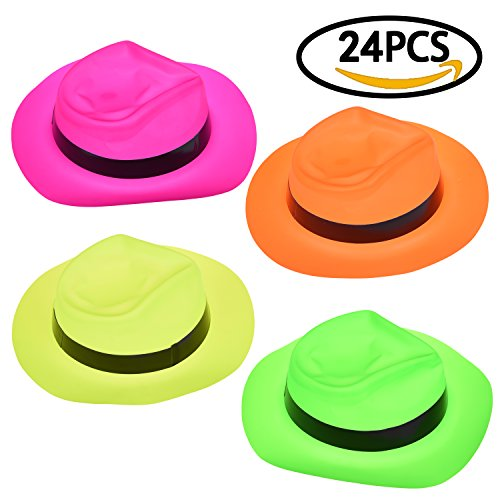 Party Plastic Neon Gangster Hats for Birthday Party Supply, Pinata Toy, Carnival Prizes, Theme Party 24 (Beach Party Hats)