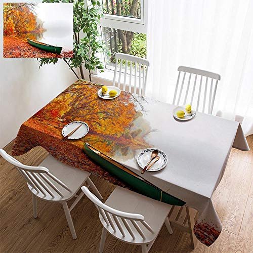 HOOMORE Simple Color Cotton Linen Tablecloth,Washable, Autumn on Cape Cod Decorating Restaurant - Kitchen School Coffee Shop Rectangular 140×60in