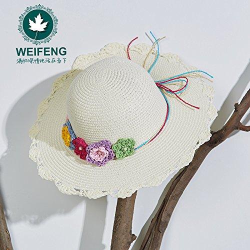 5 enfants de printemps et d'été ou noeud papillon fleur chapeau chapeaux filles Baby Beach parasol princess chapeau de paille , âgés de 3 à 8 Recommandé , blanc
