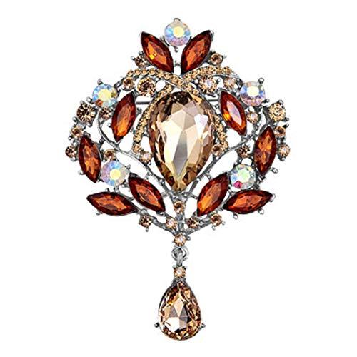 JewelryHouse Gorgeous Austrian Imitation Crystal Rhinestone Wedding Brooch Pin (Brown)