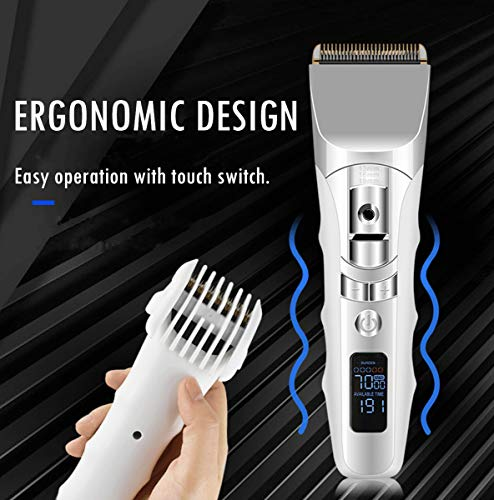 Professional Low Noise Hair Clippers for Men Kids, Rechargeable Cordless Clippers Hair Trimmer Set Electric Haircut Kit with LED Display and Charge Stand for Men and Family Use