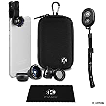 Universal 5in1 Camera Lens and Shutter Remote Kit for Smartphones, including Bluetooth Camera Shutter Remote, Fish Eye, 2in1 Macro and Wide Angle, CPL and 2x Tele Lens, Lens Clip, Storage Case