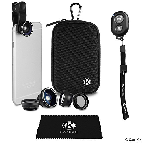 CamKix Bluetooth Camera Shutter Remote Control for Smartphones and 5 in 1 Universal Lens Kit