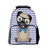 iPrint Diversified Style Schoolbag,Pug,Nerdy Glasses and Dotted Bow Tie on a Puppy Pug with a Checkered Backdrop,Sand Brown Black Blue,for Students,Pictures Print Design