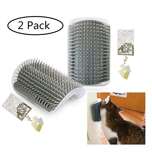 Cat Self Groomer Hard Plastic Wall Corner Grooming Brush Massage,Remove Shedding Hair with Catnip Pouch,Screws,Double-Sided Tapes for Long and Short Fur Cats,Kitties,Kittens (Gray,2 Pack)