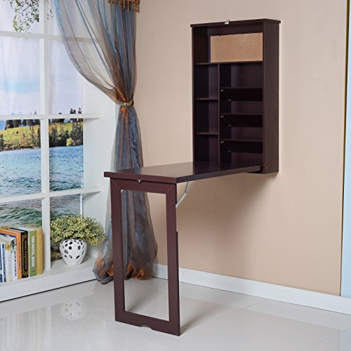 ViscoLogic Fold-Out Convertible Wall mount Desk - Brown by Viscologic