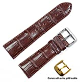 Genuine Alligator Watch Band (Silver & Gold Buckle) - Havana 18mm