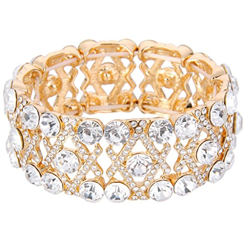 EVER FAITH Gold-Tone Austrian Crystal Gorgeous Bridal X-Shaped Knot