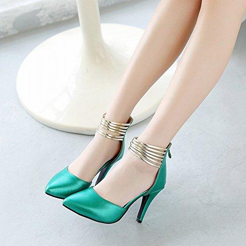 Damen heels high Reißverschluss Sandalen Shoes Grün Knöchelriemchen Mee fw7ZqZ