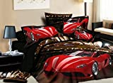 Chep Bed Sets Full For Teen Girls ,Beddinginn® One Red Car Running At Night Print 400-thread-count Cotton 4 Pieces 3d Bedding Set(Queen) offers