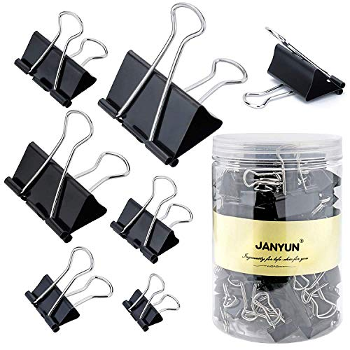 (120 Pieces Binder Clips Paper Binder Clips for Notes Letter Paper Clip Office Supplies,6 Assorted Sizes,Black)