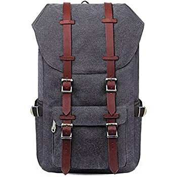 BAOSHA BP-36 Vintage Canvas Multipurpose Backpack Computer Notebook Laptop Bag 15.6 inch Hiking Travel Rucksack School Bags for Men and Women with Large Capacity (Grey)