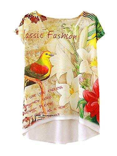 Stampata Uccello Casual Di Svago T Yichun Moda Tunica Abbigliamento shirt Sottili Camicia Superiori Ragazze Delle Parti T Cami 8 Di Modo Donne wRwBqg6a