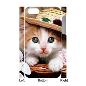 3D Bumper Plastic Case Of Cute Cat customized case For iPhone 5c