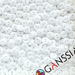 GANSSIA 3/8'' (9mm) Small size Sewing Flatback Resin Buttons Color White Pack of 500 Pcs