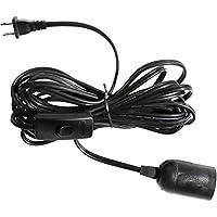 Lightingsky 15 Feet Hanging Light Cord E26 / E27 Light Bulb Socket to 2-Prong US AC Power Cord with On/Off Switch (Black, 15 Feet)