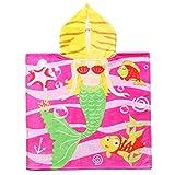 Exclusivo Mezcla 100% Cotton Mermaid Kids Baby Hooded Bath/Beach/Pool Towel, 24'' x 47''