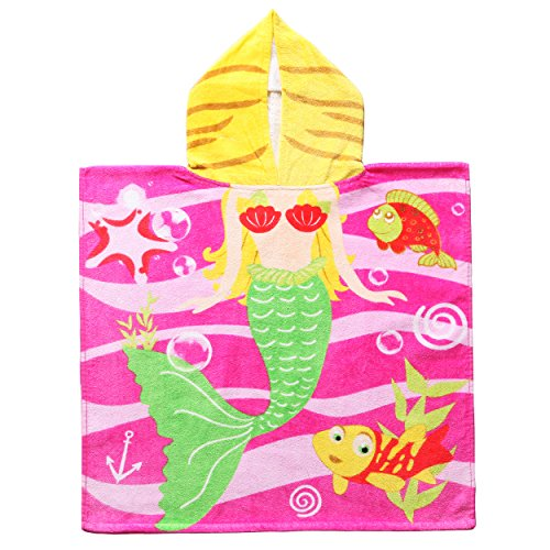 Exclusivo Mezcla 100% Cotton Mermaid Kids Baby Hooded Poncho Bath/Beach/Pool Towel, 24