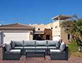 Ueenie outdoor patio furniture set PE rattan wicker sectional sofa set with table and cushions 7 Pieces black garden sofas NO Assembly Required