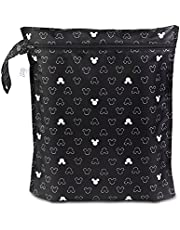 Bumkins Waterproof Wet Bag, Disney Washable, Reusable for Travel, Beach, Pool, Stroller, Diapers, Dirty Gym Clothes, Wet Swimsuits, Toiletries, 12x14 – Mickey Mouse Icon