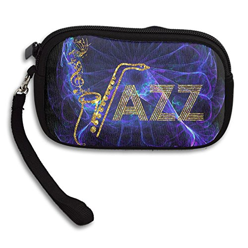 Jazz Saxophone Music Women's Portable Zipper Coin Purse Business Card Wallet