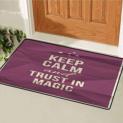 Gloria Johnson Keep Calm Front Door mat Carpet Keep Calm and Trust in Magic Quote on Purple Crumpled Paper Image with Frame Machine Washable Door mat W31.5 x L47.2 Inch Beige Plum ()