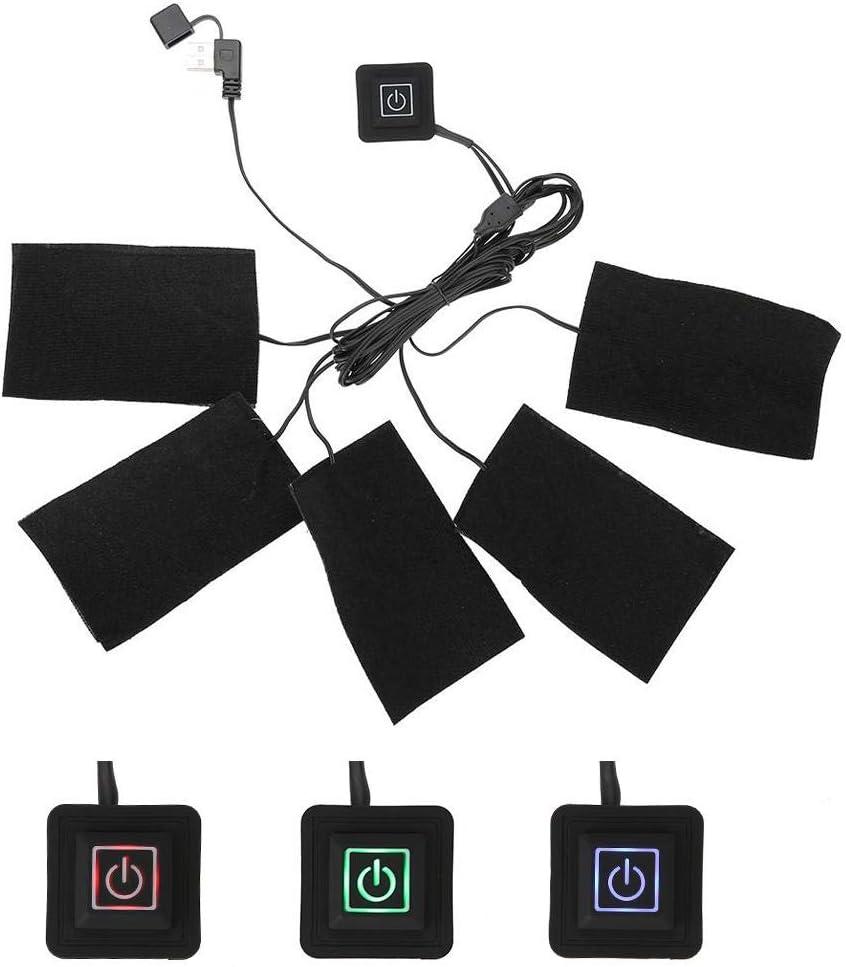 USB Toalla Calefacción para chaleco calefactables, eléctrica Ropa Cinco Calefacción Cojín Resistencia Temperatura Regulable calentador Herramientas