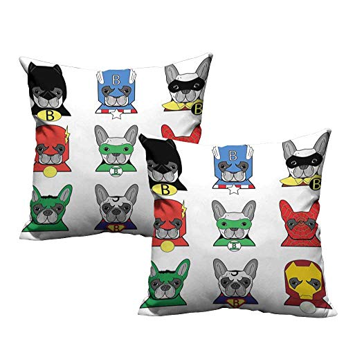 ZhiHdecor Pillow Covers Superhero,Bulldog Superheroes Fun Cartoon Puppies in Disguise Costume Dogs with Masks Print,Multicolor 14