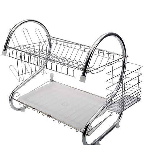 (Acazon Dish Rack,2-Tier Dish Rack with Utensil Holder, Cutting Board Holder and Dish Drainer for Kitchen Counter,Plated Chrome Dish Dryer,US Stock (Silver))