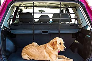 Zone Tech Universal Fit-Adjustable Sturdy-Heavy Duty- Portable -Sleek Shiny Black- Travel - Pet Safety Barrier
