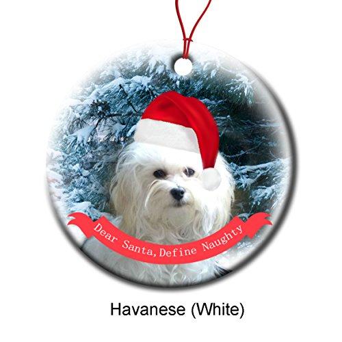 Xmas Ornaments Ceramic Flat Round Snowflakes Santa Dog Havanese White Custom Tree Branch Hanging Decoration for Holiday Season