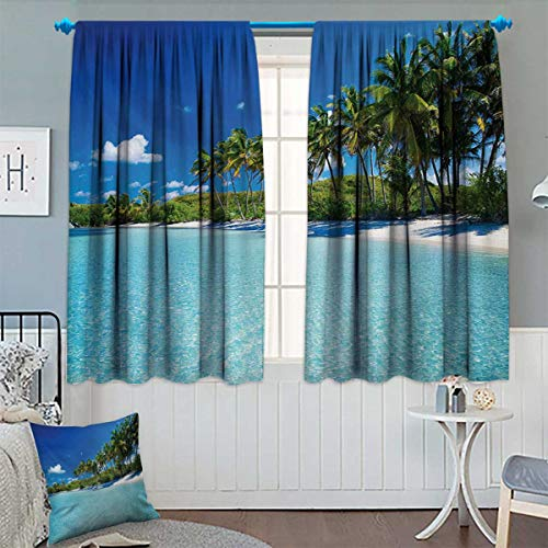 Anhounine Ocean,Blackout Curtain,Relaxing Beach Resort Spa Palm Trees and Sea Exotic Caribbean Coastline,Thermal Insulating Curtain,Turquoise Blue Green,W72 x L63 inch ()