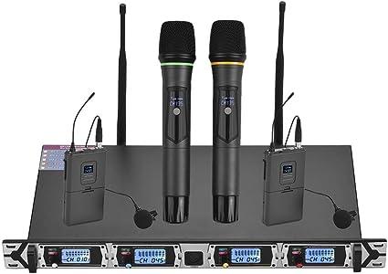 Muslady Micrófono Inalámbrico Sistema UHF de 4 Canales Profesional ...