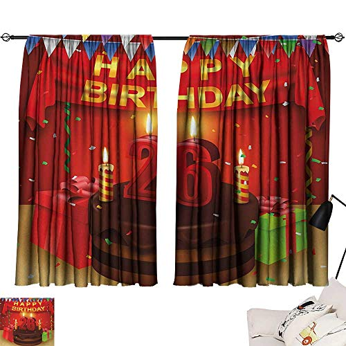 - 26th Birthday Room/Bedroom Chocolate Cake with Candles and Ribbons Surprise Event Best Wishes Image livingroom Darkening Curtains Multicolor W63 x L72
