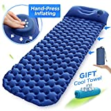 Sleeping Pad,Camping Mat Ultralight Camp Mattress Outdoor Air Inflatable Bed with Hand Pressing-Type Inflation Pillows and Innovative Button Stitching for Travelling and Hiking