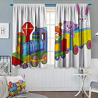 """Chaneyhouse Nursery Blackout Window Curtain Clown Cat and Bunny Sitting in The Train Kids Toys Cartoon Style Funny Cheerful Customized Curtains 55"""" W x 39"""" L Multicolor"""