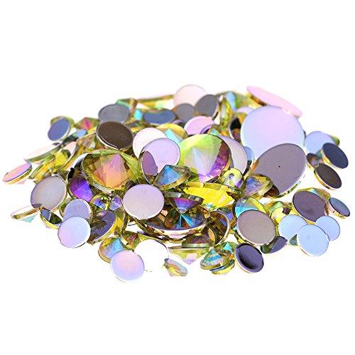 Light Yellow Rhinestones - Nizi Jewelry Acrylic Rhinestones Round Flatback Pointed Light Yellow AB Color (Mixed Sizes 300pcs)